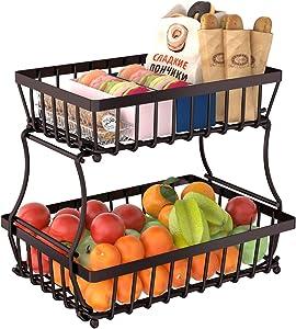 Apsan 2 Tier Fruit Storage Basket Countertop for Kitchen, Bread Vegetable Fruit Basket Bowl Stand Detachable Metal Rectangular Wire Basket, Bronze Medium