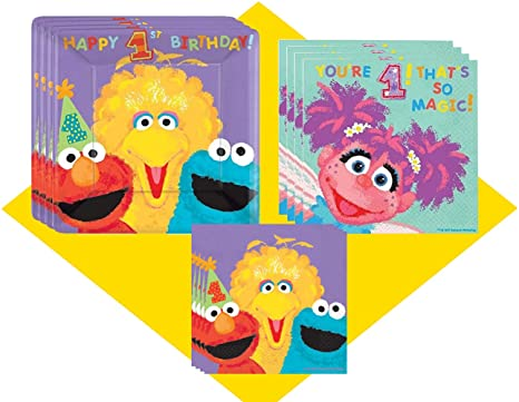Sesame Street Party Supplies For First Birthday Pack 36 Guests