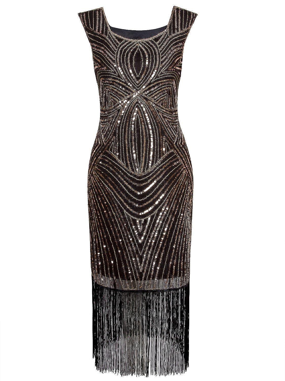 Vijiv Women's 1920s Gastby Inspired Sequined Embellished Fringed Long Flapper Dress JXJ33102531