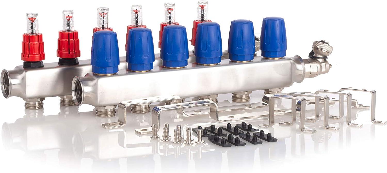 acero inoxidable, para suelo radiante, incluye v/álvula de bola, 6 circuitos de calefacci/ón Distribuidor de circuito de calefacci/ón