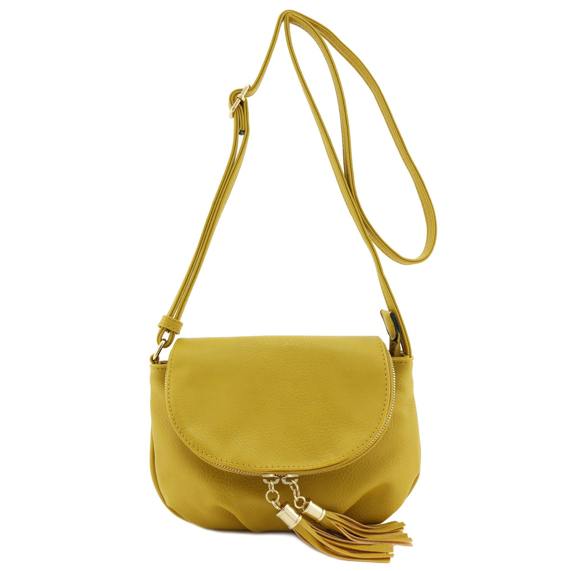 Tassel Accent Small Half Moon Crossbody Bag Mustard