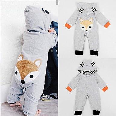Newborn Infant Baby Boy Girl Fox Cotton Bodysuit Romper Jumpsuit Clothes Outfits