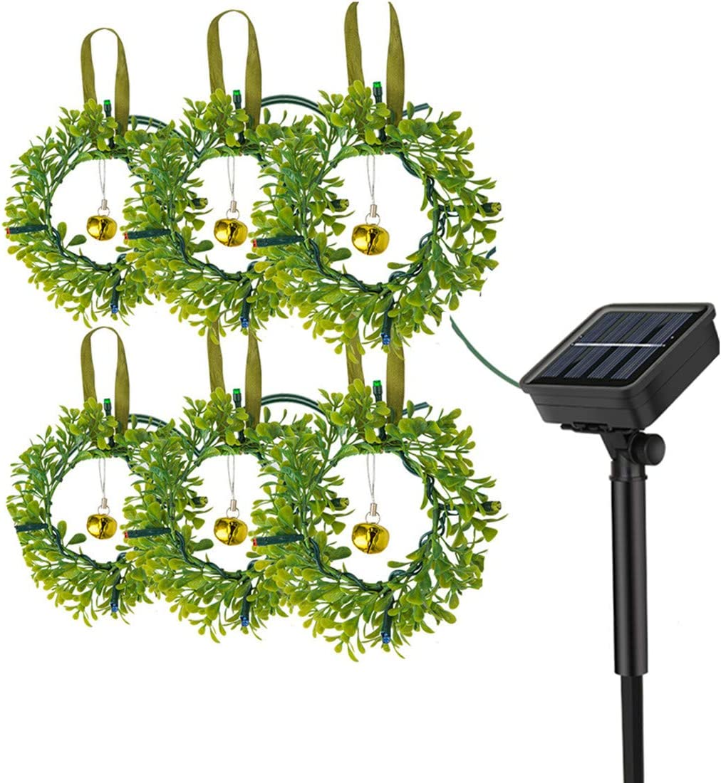 iRonrain Solar Wreath Flower String Lights, 6 Wreaths Automatically Lights up Indoor Outdoor for Garden Patio Backyard Yard Pathway Homes Party Decoration