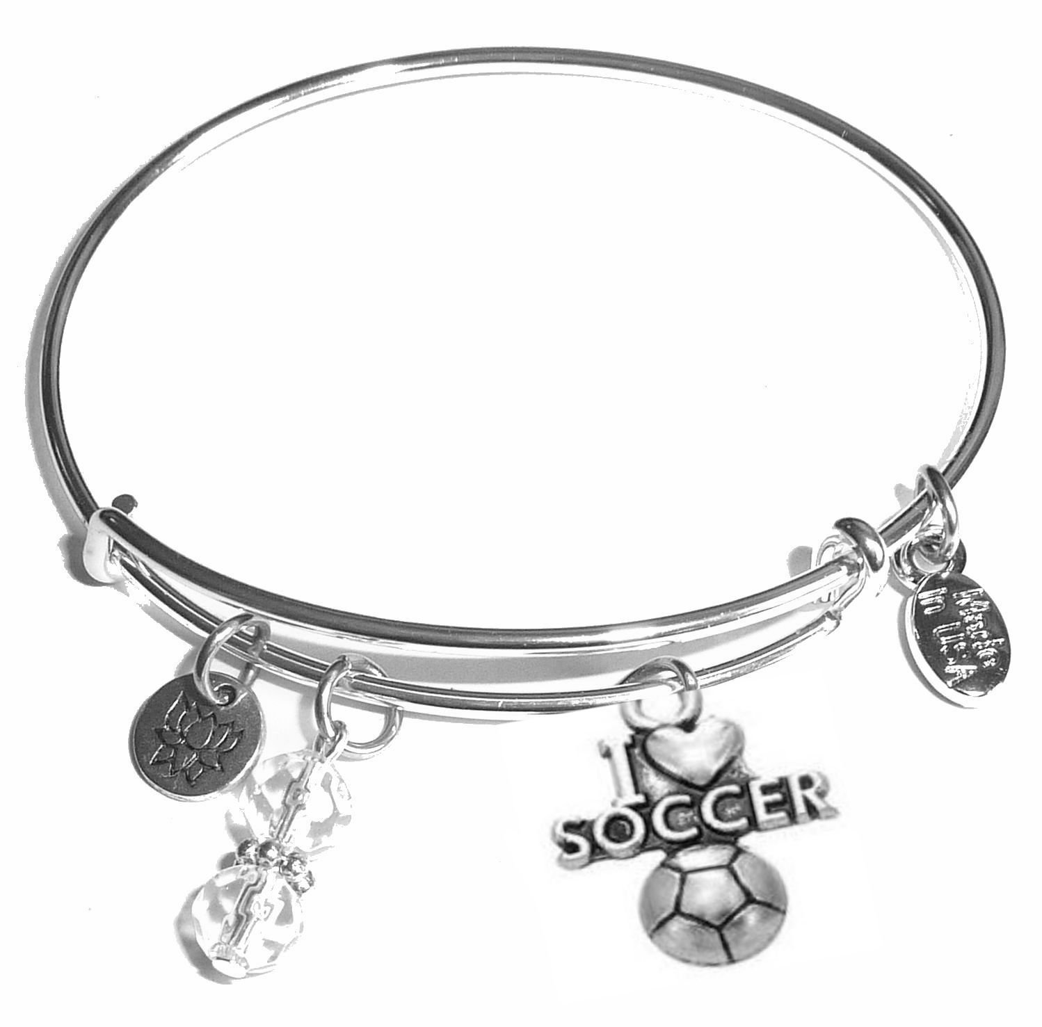 Message Charm (46 words to choose from) Expandable Wire Bangle Bracelet, in the popular style, COMES IN A GIFT BOX! (I Love Soccer)
