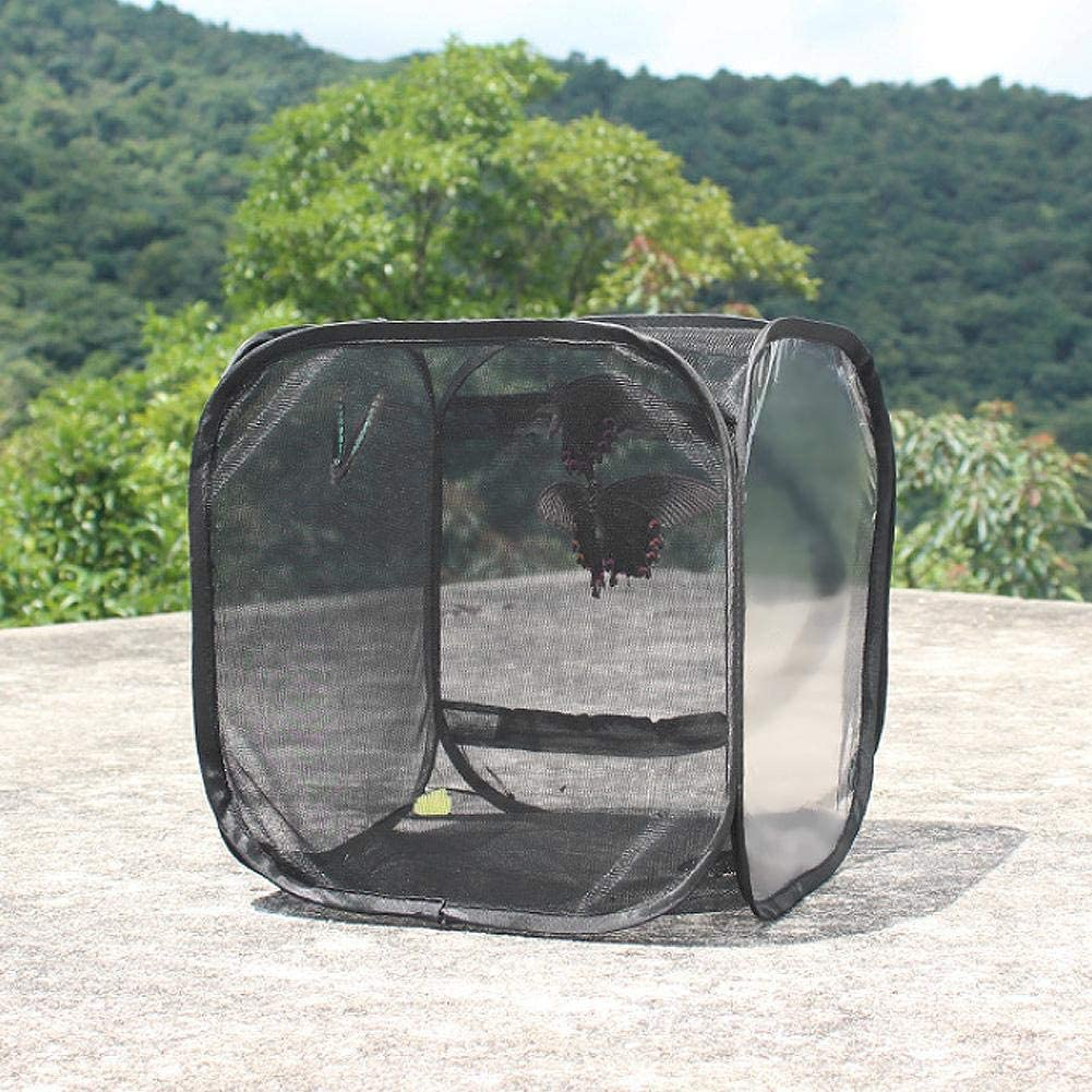 Breeding Cage Large Foldable Portable Durable Ventilated Butterfly House Insect Breeding Cage Net Cloth Butterfly Stick Praying Cage Black