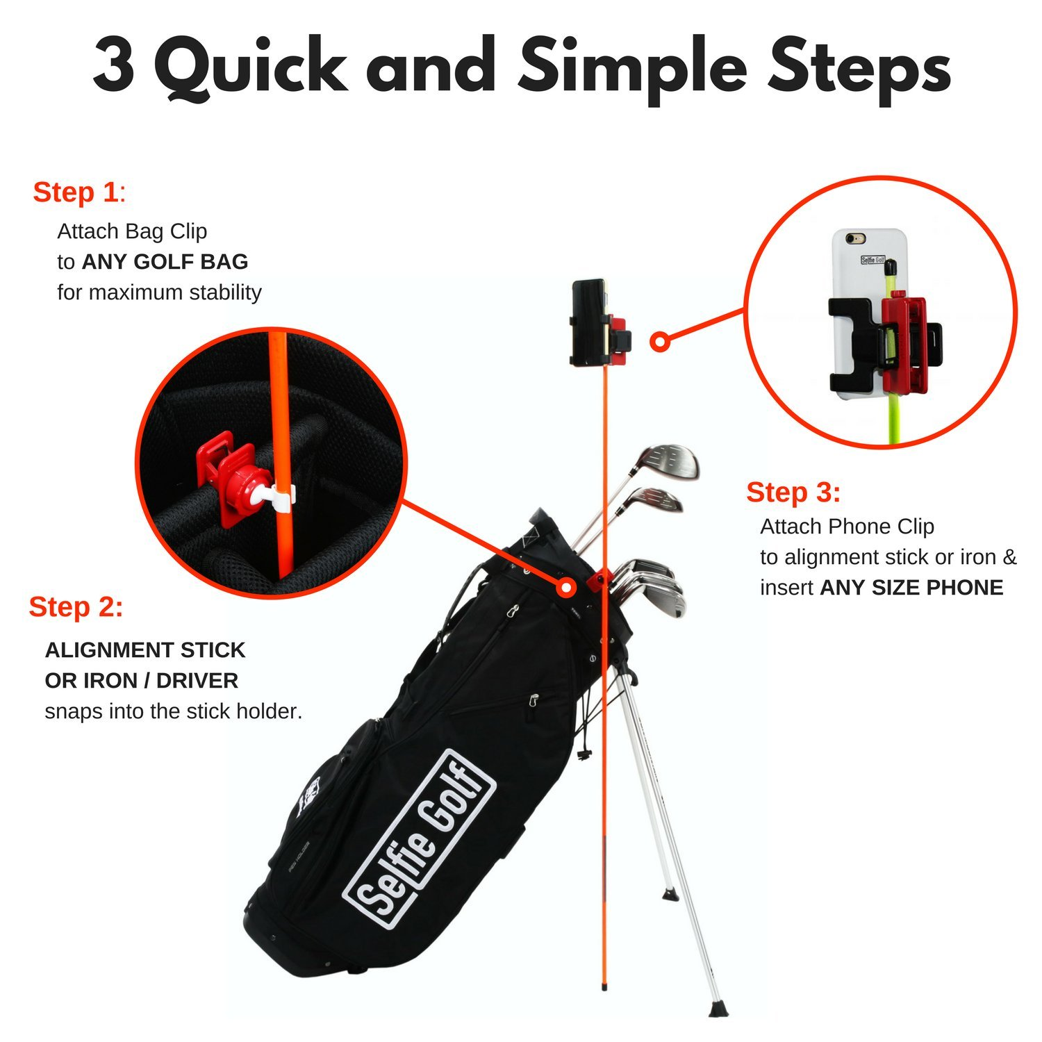 Record Golf Swing - Cell Phone Clip Holder and Training Aid by SelfieGOLF TM - Golf Accessories | The Winner of The PGA Best of 2017 | Compatible with Any Smart Phone (Red/Black) by Selfie Golf (Image #4)