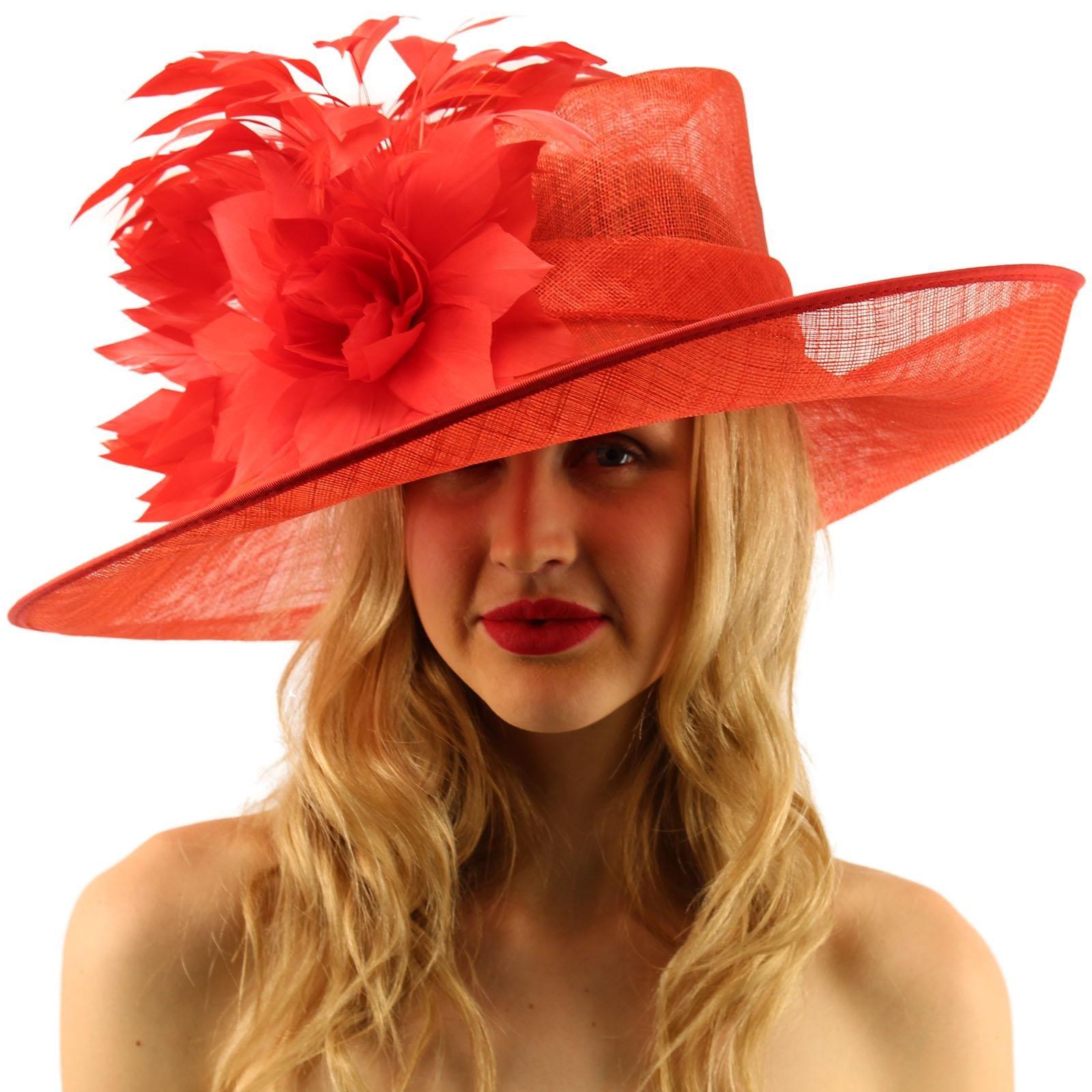 Glorious Side Flip Sinamy Floral Feathers Derby Floppy Dress Wide Brim Hat Red