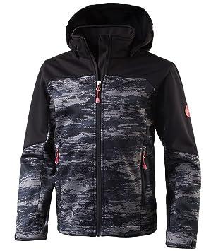 c9f484114cef5 McKinley Sacha Veste pour enfant, en softshell, pour la randonnée, noire à  motifs