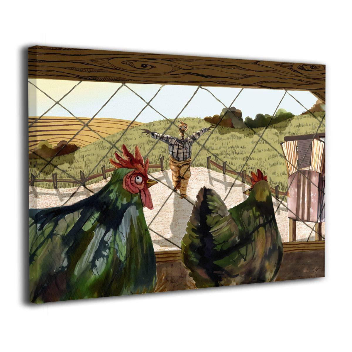 Little Monster Roosters Framed Printing On Canvas Wall Decor Modern Artwork Art for Child Bedroom