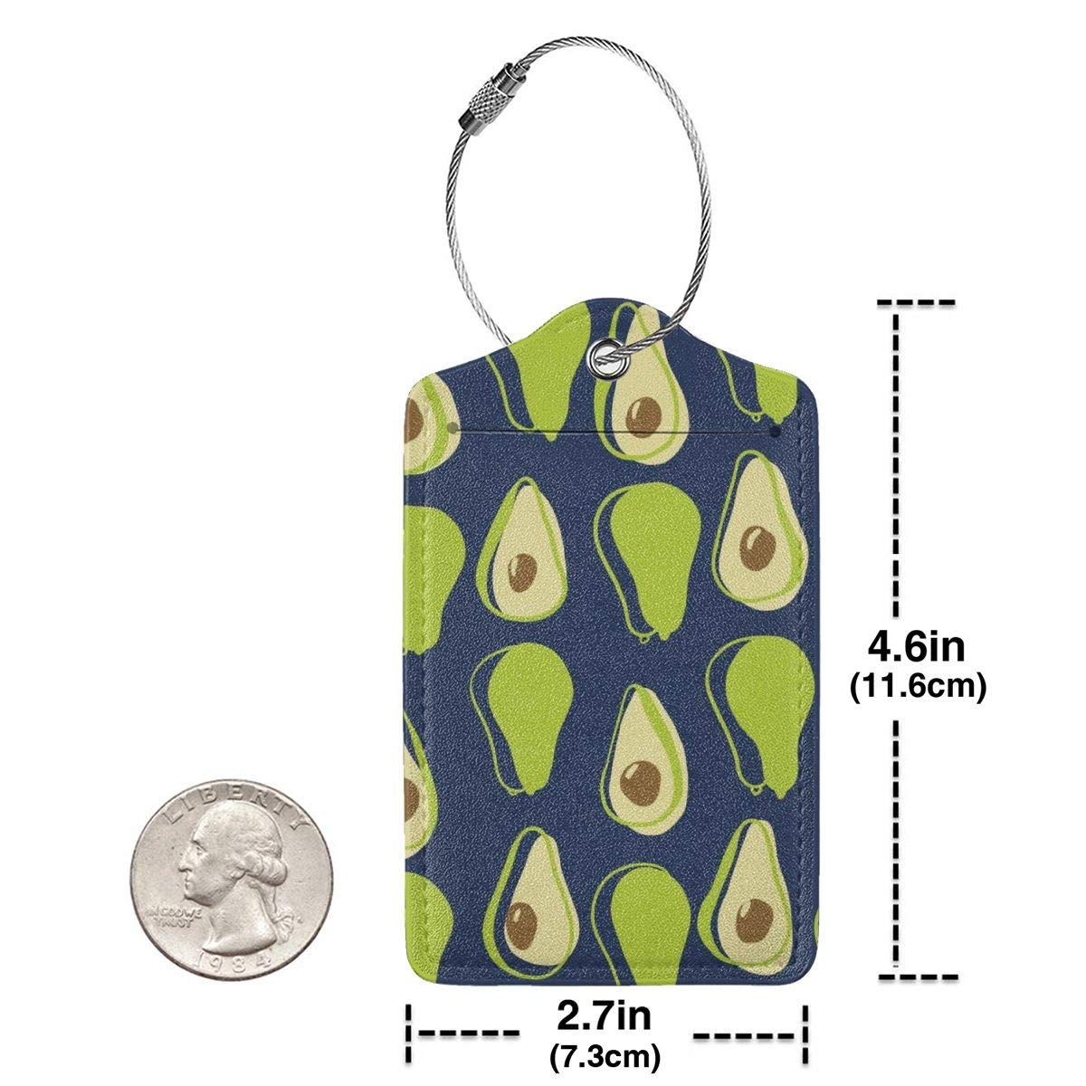 Travel Luggage Tags PU Leather Bag Tags Suitcase Baggage Label Handbag Tag With Full Back Privacy Cover Steel Loops Avocado Ripe Halves Avocado set of 4