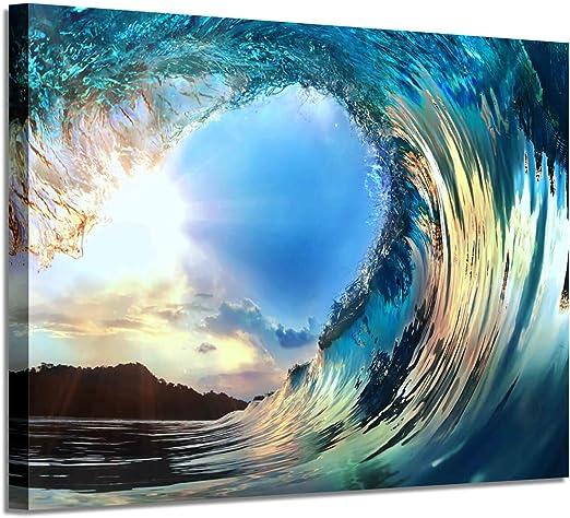 Amazon.com: Rolling Ocean Waves Wall Art: Tropical Seascape Sunset ...