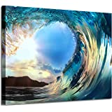 """Rolling Ocean Waves Wall Art: Tropical Seascape Sunset Artwork Painting Wall Art for Living Rooms (36""""x24""""x 1 Panel)"""