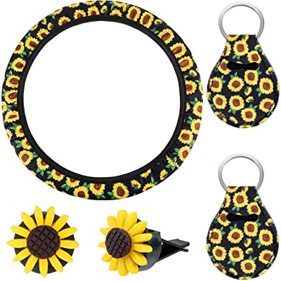 5 Pieces Green Leaf Sunflower Car Accessories for Women, Green Leaf Sunflower Steering Wheel Cover with 2 Pieces Cute Sunflowers Keychains and 2 Piece Sunflower Air Vent Clips: Automotive