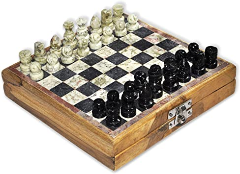 Dungri India 8 x 8 Marble Wooden Chess Game Board Set + Hand Crafted Pawns