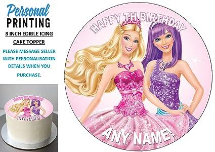 Pleasing Barbie Round Edible Birthday Cake Topper Frosting Sheet Decoration Personalised Birthday Cards Beptaeletsinfo
