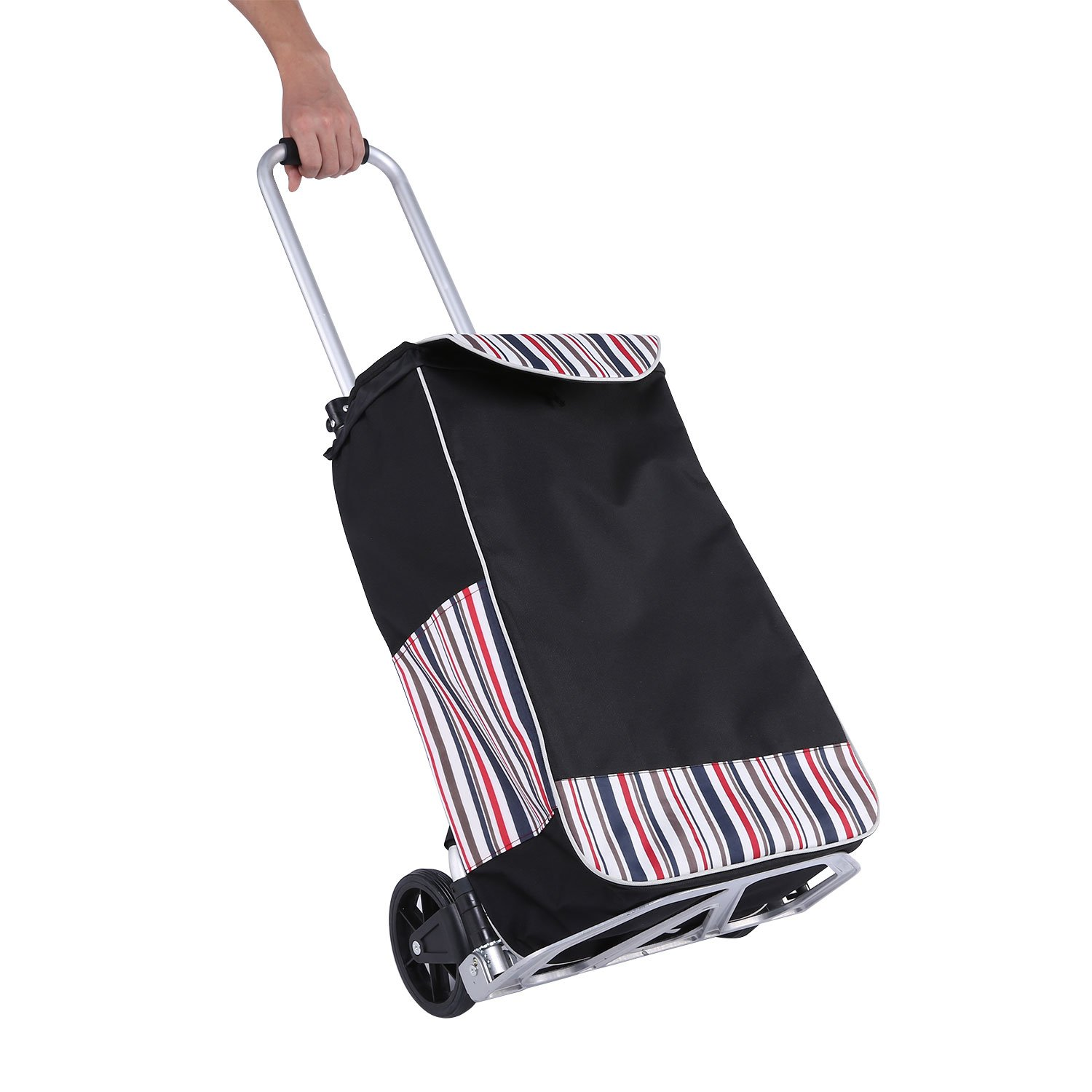 Meditool 180lb Shopping Trolley Dolly 38.5L Folding Hand Truck 2 in 1 Aluminum Grocery Cart 13.5 x14.9 x 37.8 inch