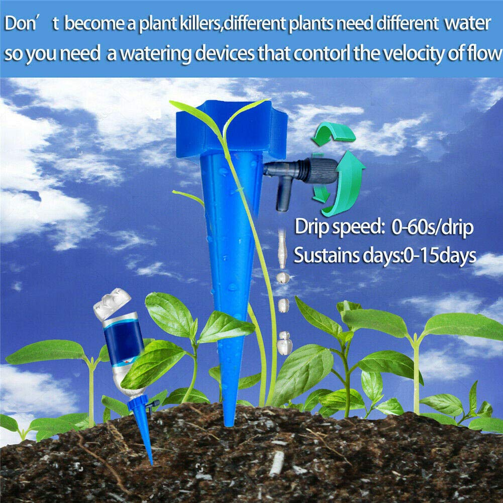 Watkings 12Pcs Plant Water Funnel Flower Drip Spikes Automatically Watering Tools Adjustable Automatic Plant Watering Irrigation Device Flower Water Drip Plant Water Dripper with Valve