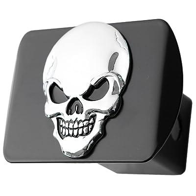 "LFPartS 100% Metal Skull 3D Emblem Trailer Hitch Cover Fits 2"" Receivers (Chrome on Black): Automotive"