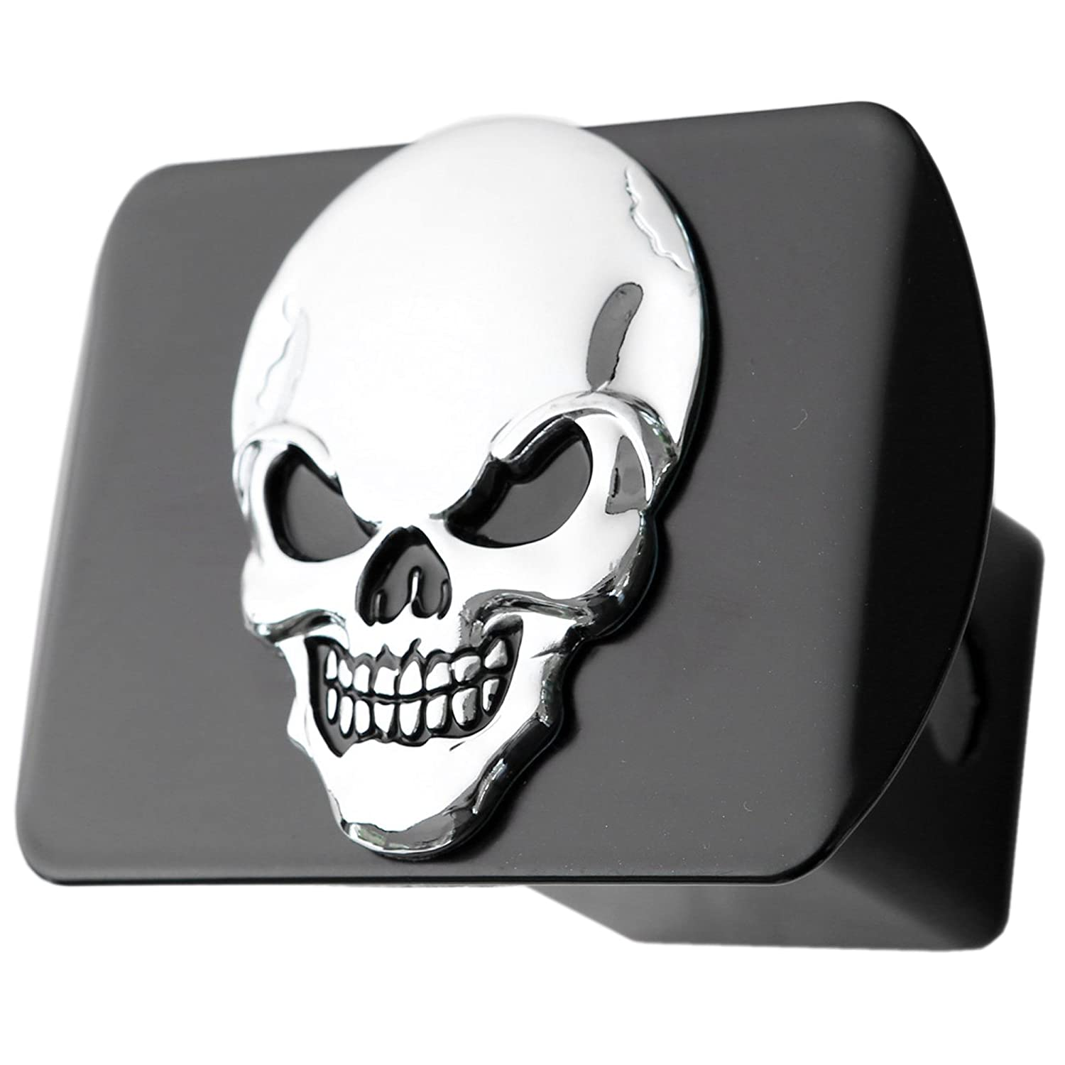 Black on Black LFPartS 100/% Metal Skull 3D Emblem Trailer Hitch Cover Fits 2 Receivers bparts