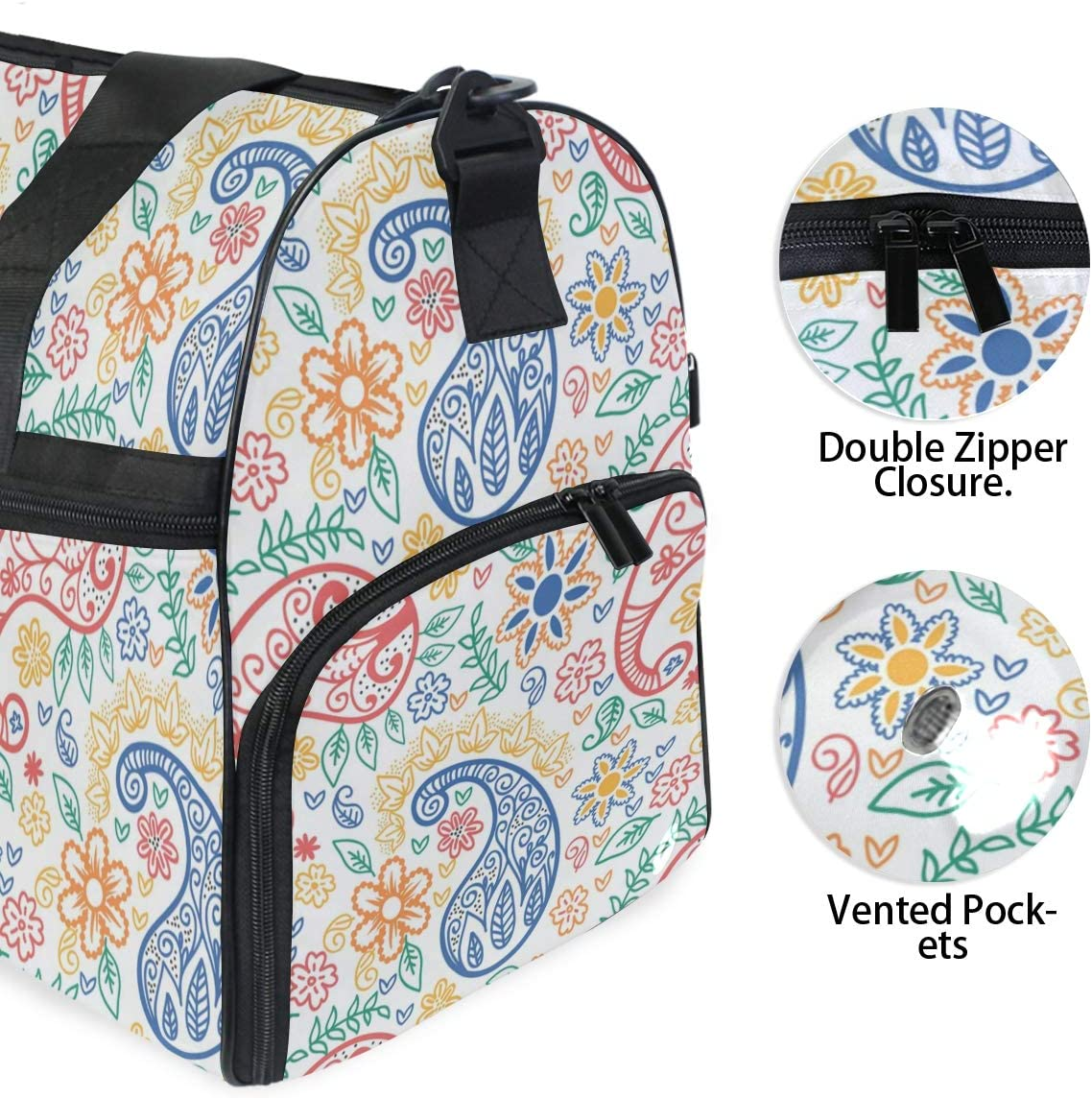 Ethnic Tribal Floral Pattern With Sunflowers And Paisley Vintage Boho Style Sports Gym Bag with Shoes Compartment Travel Duffel Bag for Men Women