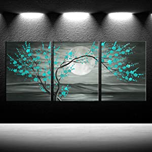 iKNOW FOTO 3pcs Grey and Teal Floral Canvas Prints Framed Plum Blossom Tree Oil Painting Printed on Canvas Gallery Wrapped Full Moon Flower Landscape Pictures Living Room Traditional Paintings