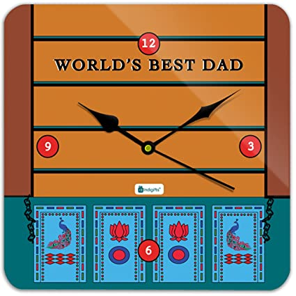 Indigifts From Daughter Worlds Best Dad Quote Indian Truck Art Orange Square Wall Clock 11quot