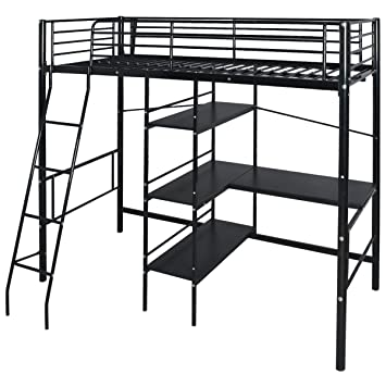 VidaXL Children Kids High Sleeper Cabin Bed Frame W Desk Shelves Metal 200x90 Cm Black