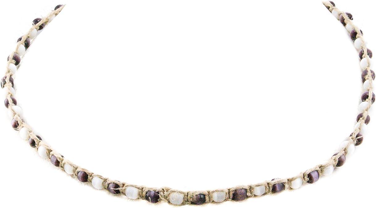 Choker Hemp Black Opalite Simple Necklace