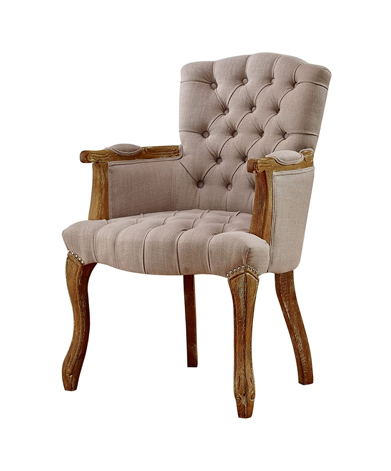 French Provincial Chair >> Amazon Com Baxton Studio Clemence French Provincial Weathered Oak
