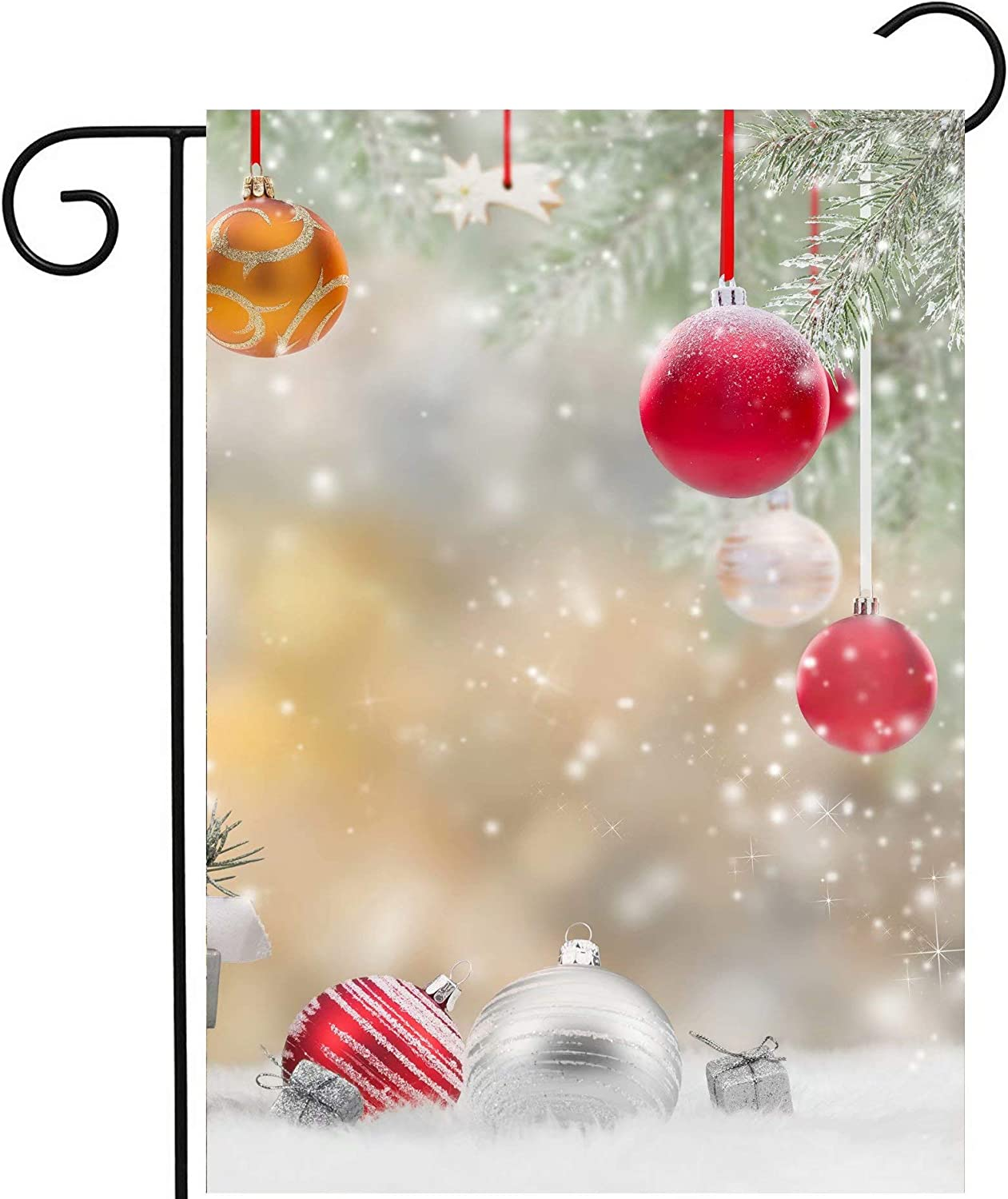 Pickako Christmas Xmas New Year Balls Tree Gifts Winter Holiday Decorations Garden Yard Flag 12 x 18 Inch, Double Sided Outdoor Decorative Welcome Flags Banners for Home House Lawn Patio