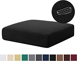 Water Repellent Sofa Cushion Slipcovers Stretch Spandex Cushion Protector Slipcovers Slip Cover for Sofa Seat (Loveseat Cushion, Black)