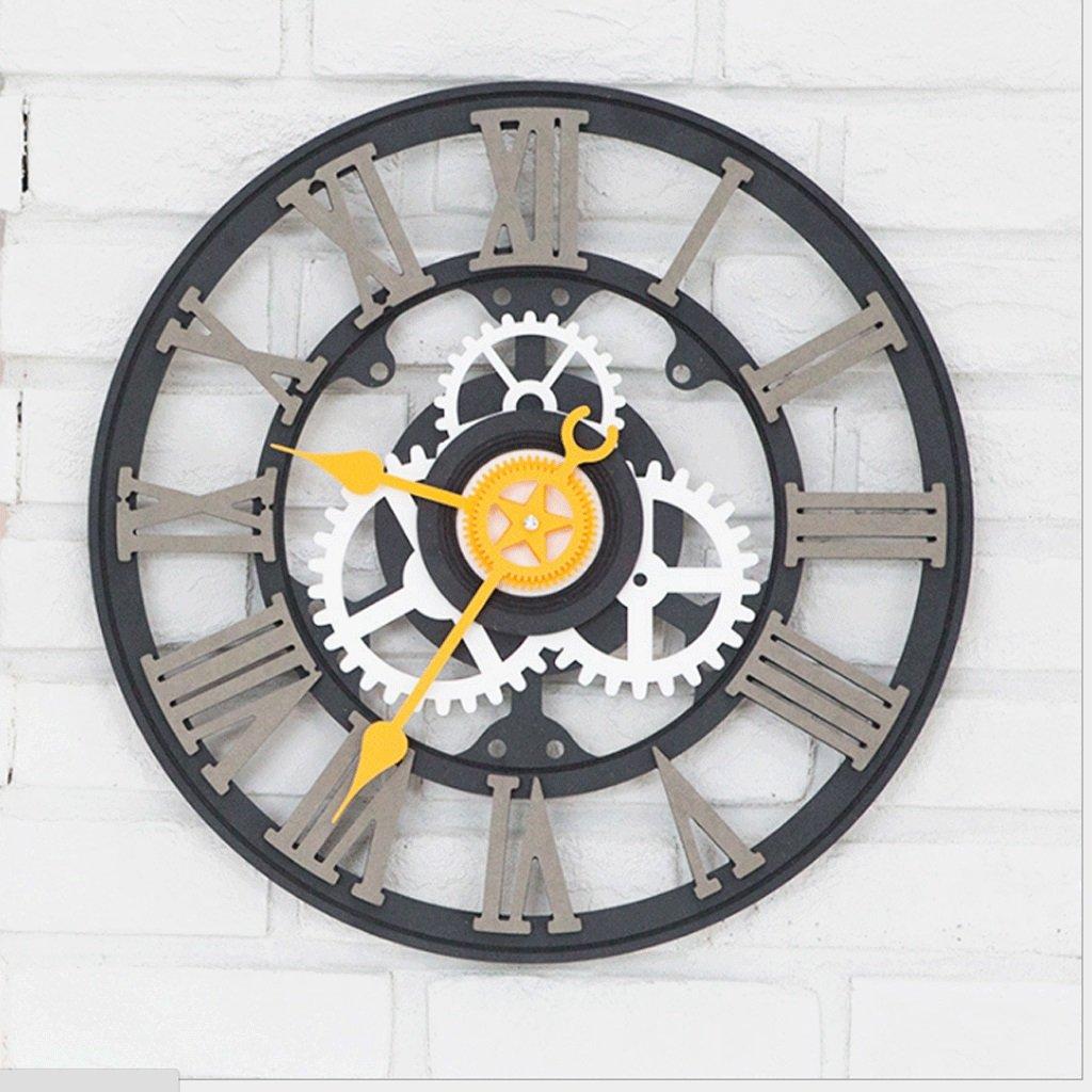 時計ヨーロッパのレトロ壁時計パーソナリティクリエイティブ時計寝室ミュート時計装飾的なクォーツ時計の壁時計(直径43センチメートル) (色 : A) B07F8H58WT A A