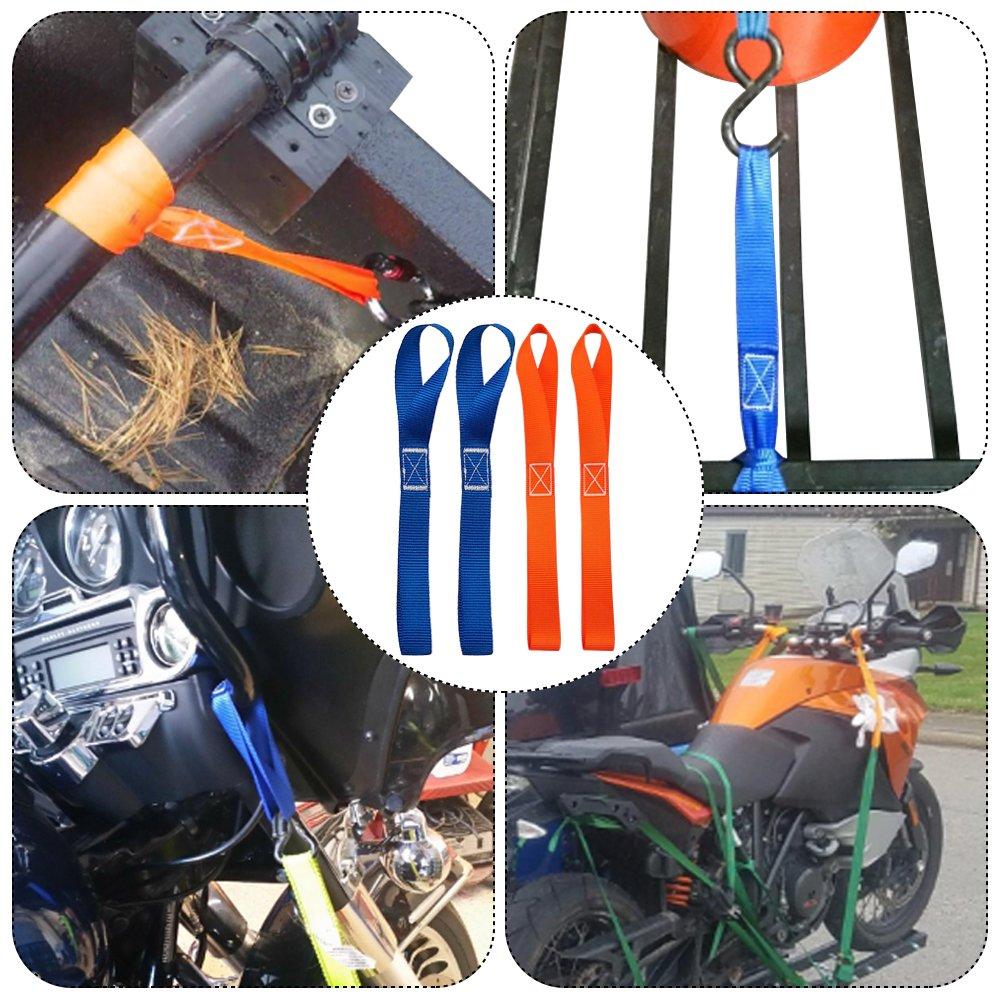 FineGood 10 Pcs 11.6 Cinghie di cinghie Soft Loop capacit/à di carico 1.500 lb 4,500 libbre Cinture di resistenza allavvicinamento per trailering di moto Dirtbike ATV UTV Nero arancione