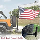 Bolaxin Hitch Mount Flagpole Holder with Anti-Wobble Screws fit for 2 inches Receiver