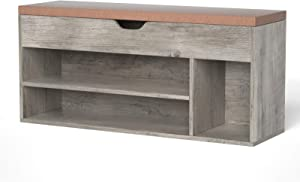 LGHM Shoe Storage Bench, Entryway Bench with Shoe Storage, 2-Tier Shoe Rack Bench for Entryway, Ideal for Entryway Livingroom Bedroom or RV, Gray Wash