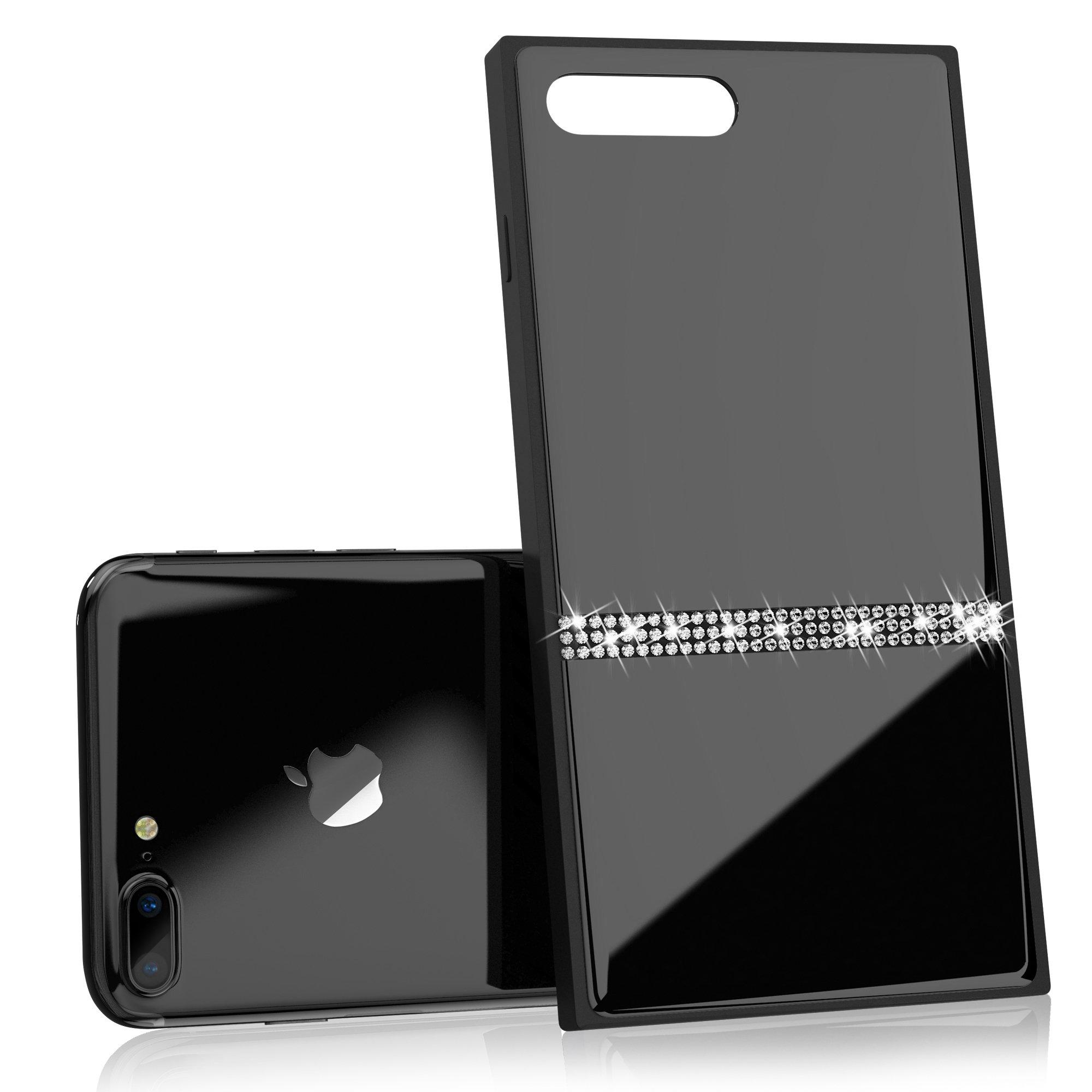 Luxury iPhone 7 Plus/iPhone 8 Plus Case Rhinestones 9H Tempered Glass, Drop Protection, Wireless Charging Compatible Apple iPhone 7 Plus (2016) / iPhone 8 Plus (2017) - Black