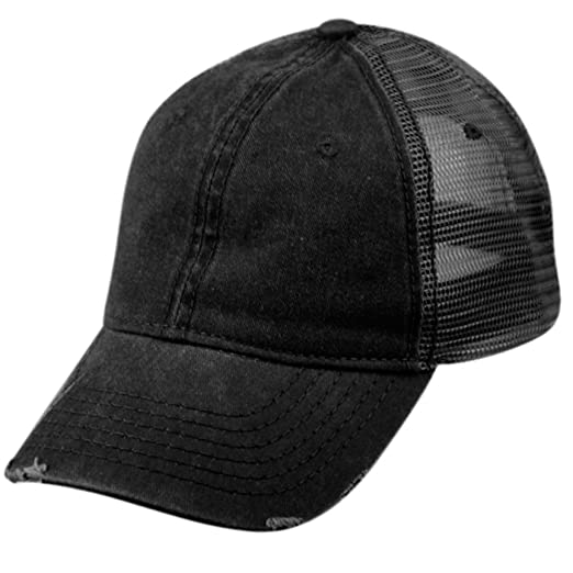 LOW PROFILE UNSTRUCTURED HAT TWILL DISTRESSED MESH TRUCKER CAPS (BLACK) d4bd0d4a53bd