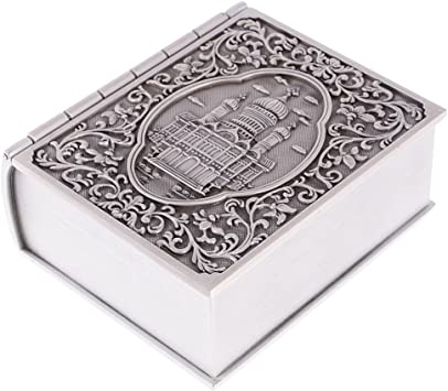 MagiDeal Caja de Joyería Forma de Libro Escultura de Castillo ...
