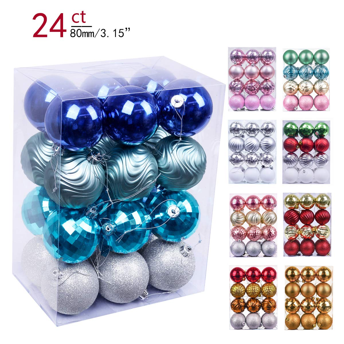 Valery Madelyn 24ct 80mm Winter Wishes Blue Silver Shatterproof Christmas Ball Ornaments Decoration,Themed with Tree Skirt(Not Included) EG0101-0067