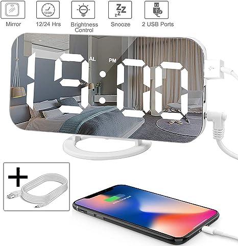 "Dual USB Charging Ports, Alarm Clock LED Digital Clock with 6.5/"" Large Display"