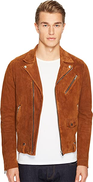 04fa28450f The Kooples Men's Destroyed Suede Perfecto Motorcycle Jacket Beige Outerwear