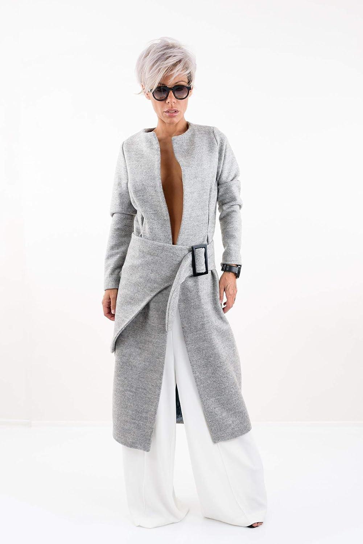 LOCKERROOM Women Maxi Wool Winter Cashmere Trench Long Rain Coat
