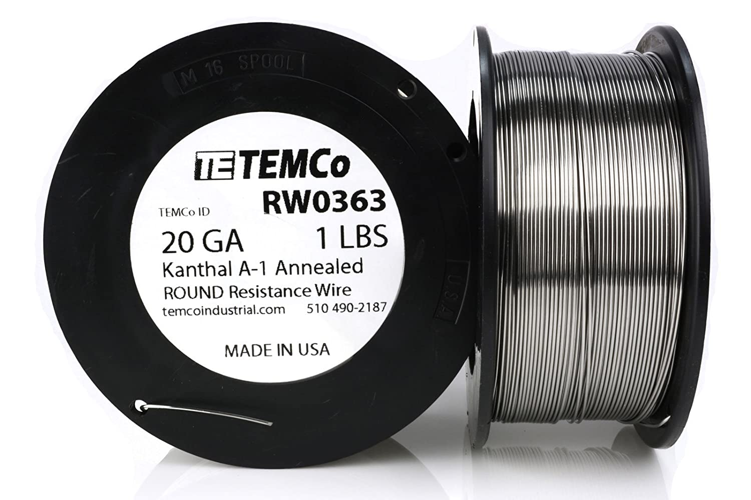 TEMCo Kanthal A1 wire 20 Gauge 25 Ft Resistance AWG A-1 ga ...