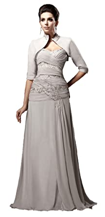 4852451665d Snowskite Women s Sweetheart Chiffon Beaded Mother of the Bride Dress with  Jacket Silver 0