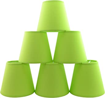 Urbanest Set of 6 Bright Green Cotton Hardback Chandelier Lamp Shade, 3 inch by 5 inch by 4.5 inch, Clip on