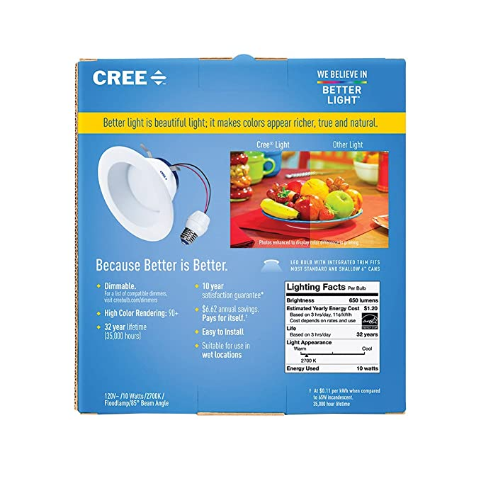 CREE srdl4 - 0572700 fh-12de26 - 1-11 - 4 Inch LED Retrofit - Foco empotrable 55 W de repuesto suave color blanco (2700 K),: Amazon.es: Bricolaje y ...