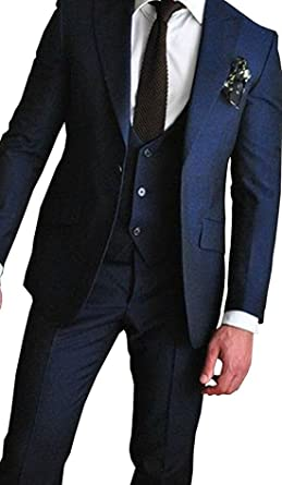 Navy Suit Wedding.Silver Moonlight One Button Navy Blue 3 Pieces Men Suits