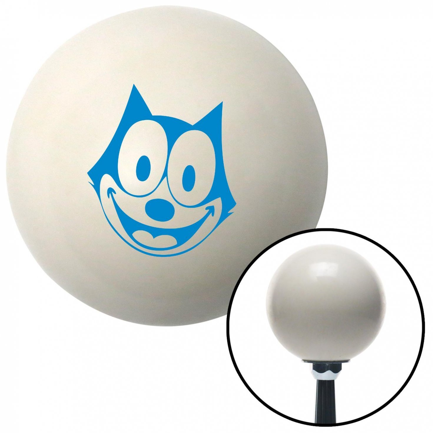 American Shifter 42194 Ivory Shift Knob with 16mm x 1.5 Insert Blue Felix The Cat Smiling