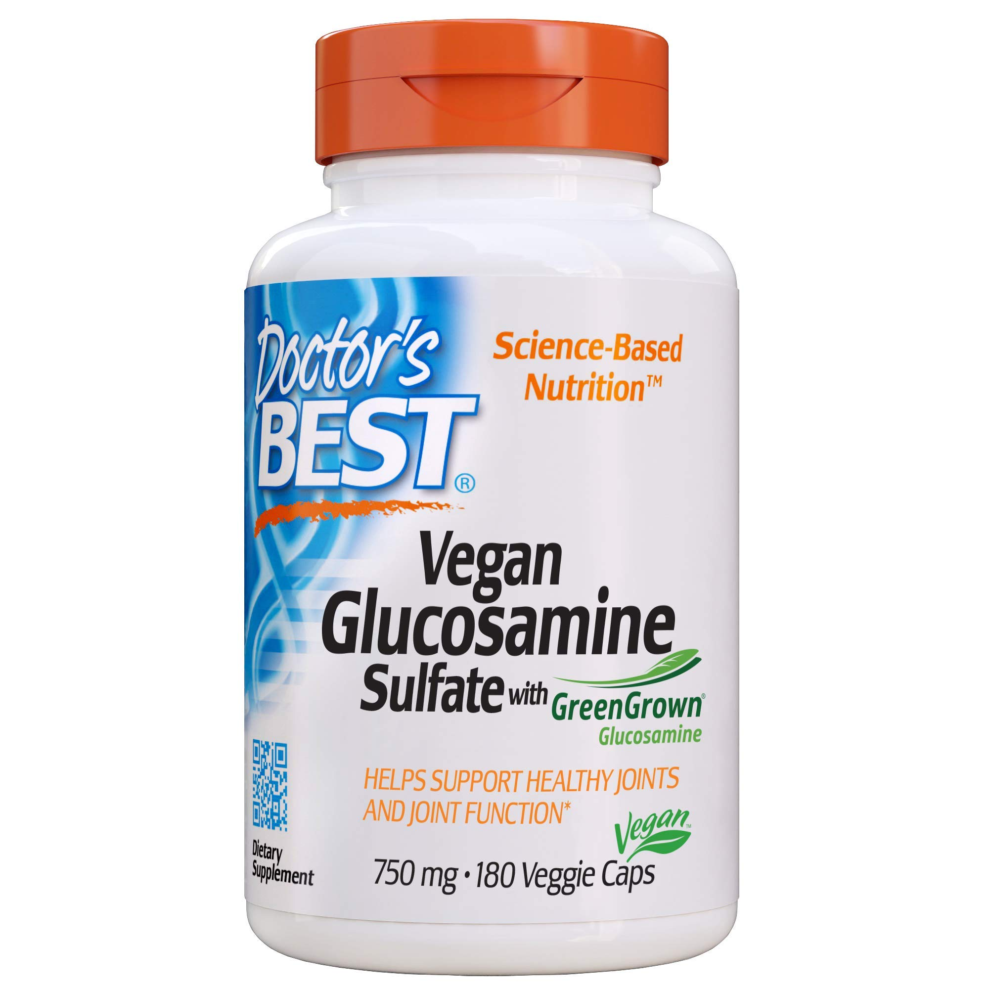 Doctor's Best Vegan Glucosamine Sulfate, Joint Support, Non-GMO, Vegan, Gluten Free, Soy Free, 750 mg 180 Veggie Caps