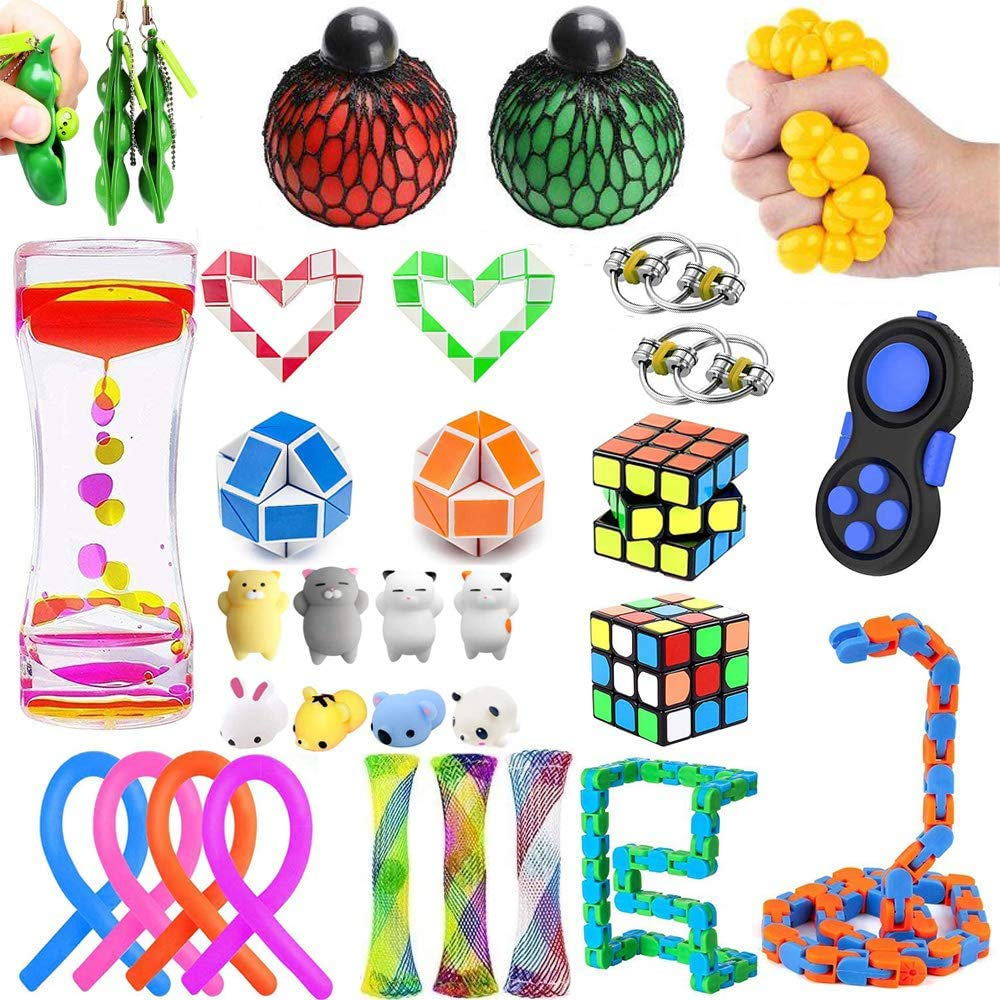 26 Pack Bundle Sensory Fidget Toys Set, Stress Relief and Anti-Anxiety Tools for Kids and Adults, Pack of Marble and Mesh, Stress Balls, Soybean Squeeze, Flippy Chain, Liquid Motion Timer & More